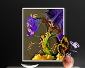 Butterfly Wall Art, Surreal Floral Art, Downloadable, Printable art with vibrant colors