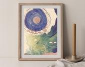 Abstract Wall Art , Green Nature Art, Bee Wall Art, Sun Moon Celestial , Downloadable Printable. Vibrant color art, Total Eclipse