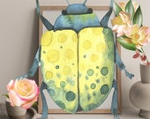 Botanical Still Life, Yellow Beetle, Insect Art Print , Pollinator Wall Art, Pink Rose in Vase, Polkadot Wing, Wildflower, Speckled Animal,