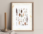 Botanical Woodland Forest, Bee Honeycomb, Wildflowers, Cabin Kitchen Dining, Decor Nature Earth Tones, Downloadable Printable Cottagecore