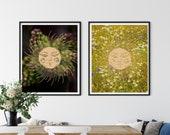 Golden Wheat Wreath, Printable Wall Art, Downloadable Friluftsliv ,Celestial Zoom Background, Sunburst Art, Wildflowers, Dried Flowers,