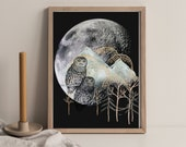 Owl Fantasy Print, Full Moon Art , Snowy Mountains Image, Lunar Celestial Night Landscape, Forest Animal Wall Art, Downloadable Printable