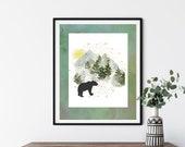 Bear art print, Animal wall decor, Winter Landscape Art, Mountains Wall Decor, Rustic Farmhouse, Modern Animal Art, Botanical Cottagecore