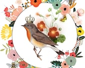 Crowned Bird Wreath, Royal Bee Spring Wreath, Downloadable, Printable Butterfly Art.