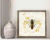 Bee Art, Honey Comb Print, Elegant Farmhouse Gold Garland, Honeybee Art Print, Cottage Wall Art, Modern Animal Art, Vintage Animal Print,