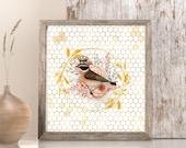 Crowned Bird, Golden Summer Floral Wreath, Home Oasis Honeycomb, Downloadable Printable Princess Tiara