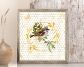 Crowned Bird in Wreath , Downloadable Printable Cottagecore art, Spring Retreat, Lake House Bird Art, Summer Cabin , Baby Nursery Room