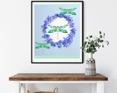 Cottagecore Wreath, Dragonfly Wall Art, Sky Blue Background, Downloadable Printable Zoom Art,, Friluftsliv Green Dragonfly