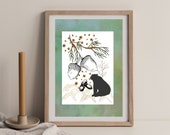 Bear Wall Art, Acorn Art Print, Autumn Nature Art, Rustic Farmhouse Art, Downloadable Printable Art, Botanical Envy Art, Animal Art, Forest