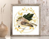 Golden Leaf Wreath, Bird Wall Art, Bird Lovers Gift, Golden Print Art, Golden Wall Art, Gift for Her, Wedding Decor, Animal Wall Art,