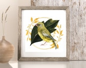 Bird lovers art gift, Gold garland wreath, Printable nature wall Art, Summer cottage , Golden floral wreath, Downloadable nature prints,