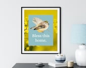 Bless This Home, Bird Art, Autumn Wildflower, Fall, Affirmation, Traditions, Family Gathering, Downloadable Printable Art in Pandemic