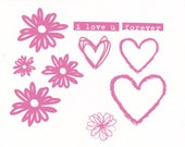 Hot Hot Pink Hearts and Daisies. I love u. Forever. Hand-applied embellishments on front of card.
