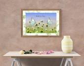 Buenos Dias Butterflies on Wildflowers Printable Art, Spanish Language Printed on Blue Sky, Downloadable Art