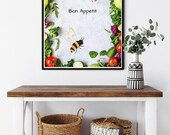 Bon Appetit Wreath of Fruit and Vegetables Downloadable Art