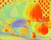 Golden Summer Herend Vegetable Colorful Topaz Still Life Bird Wall Art
