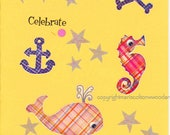 Pirate card, Whale ,Crab, Anchor ,Scull and Crossbones, Ocean Waves