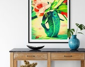 Green Carp and Native Rhododendron Downloadable Printable Art