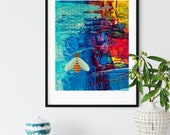 Abstract Wall art with Green Winged Bee and Honeycomb Downloadable, Printable art with vibrant colors