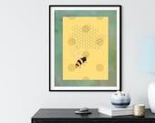 Bee and Honeycomb on Gold Polka Dots Digital Art
