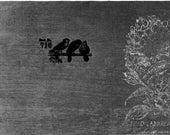 Silver Hydrangea and Birds Handmade card