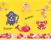 Pirate Birthday Card, Whale Crab Anchor Scull and Crossbones Ocean Waves