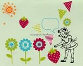Birthday card Birthday nostalgic 1950's retro little girl with cartoon bubble over her head, strawberries, flowers, sun, banners, sun.