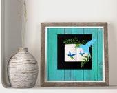 Hummingbirds on Blue Wood Downloadable Printable Art