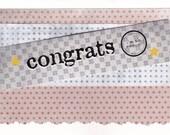 "Congratulations Graduation Handmade Greeting Card Blue Stars, reads ""Congrats!' i'm so proud"" in 3D."