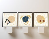 Zen, Moon, Downloadable Art, Harvest Moon , Dragonfly, Bee Wall Art, Bee wall decor, Honeycomb