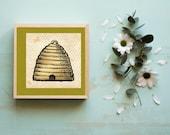 Beehive on Honeycomb Downloadable Printable Art