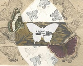 """Butterfly Handmade Notecard Butterfly """"A Dream is a Wish Your Heart Makes"""" rich brown gold"""