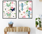 Butterflies on Pink Roses Printable Art, Nature Lovers Home Decor