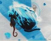 Seahorse Jellyfish Ultramarine Mixed-media One of a kind Handmade