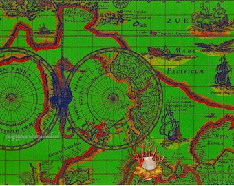 Rich Deep Green/Coral/Blue Ancient Nautical Map Scrap with SeaHorse and Hand Applied Scallop and Coral Marine Life