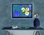 Dragonfly and White Flowers, Downloadable Printable Art, Gardeners Decor, Still Life Art, Fantasy Floral Art, Covid Art Therapy