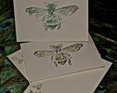 Queen Bee hand-stamped Vintage note cards and coordinating envelopes . Cranes watermark#savethepollinators