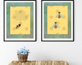 Bees on Bright Gold Polka Dots, Green wings, Downloadable Printable Art, Bee Keepers Gift, Apiary Wall Art, Gardeners Art,