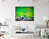 Koi in Serene Green Pond, Water Lilies Wall Decor, Gold Fish Art, Printable wall art, Printable fish art, Botanical print