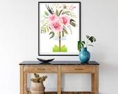 Downloadable Dragonfly, Printable TopiaryArt, Floral Bouquet, Rose Garden Design, Summer Patio Art, Outdoor Porch Decor, Whimsy