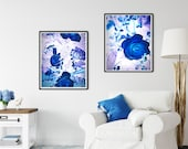 Blue Roses Wall Art, Dramatic Printable Art, MoodyBlue Print, Sophisticated Zoom Background, Home Office, Downloadable Fine Art Photograph