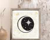Celestial Decor,Honeymoon Decor, Printable Moon, Honeycomb Image, Beekeeper Gift, Lunar Decor,North Star Art, Moon Wall Art, Starry Night,