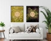 Wildflower Wreath, Sun Moon Art, Friluftsliv Wall Art, Sun Moon Celestial, Botanical Art, Nature Lovers Gift, Downloadable Printable,