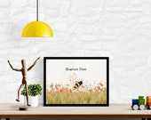 Buenos Dias Bee On Red WildflowersPrintable Art, Spanish Language Art, Downloadable Wall Art