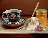 Still Life with Rabbit,Pink Flower Bud, Teacup, Jar of Honey. Downloadable Printable Art