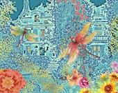 Twilight Garden Dragonflies, Downloadable Fantasy French Landscape, Sunlight Blue Wavelength, L'heure bleu Post-Impressionism
