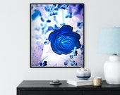 Blue Rose Wall Art, Dramatic Printable Art, MoodyBlue Print, Sophisticated Zoom Background,, Downloadable Fine Art Photography