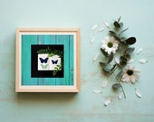 Butterflies on Blue Wood Downloadable Printable Mothers Day, Rustic Wedding, Aqua Barn Porch Art Coastal Farmhouse, Outdoors and Garden,