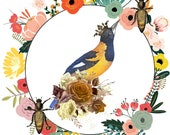 Multicolored Floral Wreath, Crowned Bird , Bee Summer Retreat Decor, Downloadable Printable Cottagecore Art, Welcome Summer 2021.