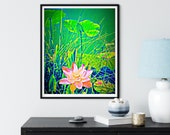 Pink Water Lily. Zen Water Art, American Lotus Art, Waterlilies Wall Art, Sacred Lotus Blossoms, Lily Pads, Green Pond